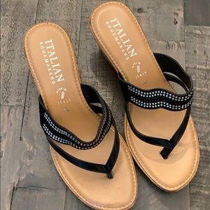 Italian Shoemakers wedge rhinestone sandal. Sz 10